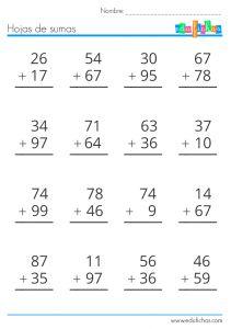 sumas de dos cifras sin llevar