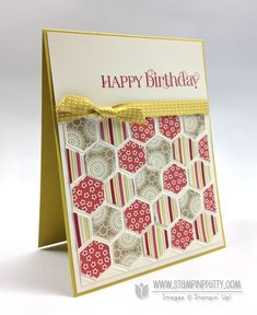Curly Cute stamp set.  Designed by Mary Fish, Independent Stampin' Up! Demonstrator. Details, supply list and more card ideas on http://stampinpretty.com/2013/01/quick-easy-hexagons.html
