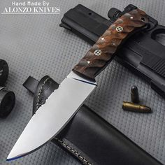 ALONZO KNIVES USA CUSTOM HANDMADE TACTICAL FIRE STARTER 1095 KNIFE ROSE WOOD 689 #AlonzoKnives