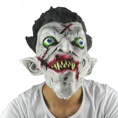 Funny Latex Full Head Scary Zombie Mask Horror Toothy Ghost Masks for Halloween Masquerade Costume Cosplay Gift Adults Size