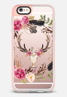 Casetify iPhone 7 Case and Other iPhone Covers - Watercolour Floral Deer Skull - Transparent iPhone 6s Case by Ruby Ridge Studios | #Casetify