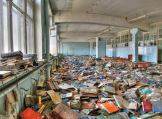 This is Pripyat, just outside of Chernobyl. This is in the library of a school. Pripyat was completely abandoned after the Chernobyl nuclear accident in These books are radioactive, not abandoned Abandoned Buildings, Abandoned Library, Old Buildings, Abandoned Places, Abandoned Detroit, Abandoned Hospital, Places Around The World, Around The Worlds, Urban Exploration
