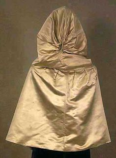 1780 to 1800 Provenance: Ann Bolton Booth, originally from Chestertown, MD, and then later from Philadelphia, PA. Pale gray silk satin, ivory china silk lining, silk ribbons. Gray silk used on the hood has a pinkish tone. In private collection.