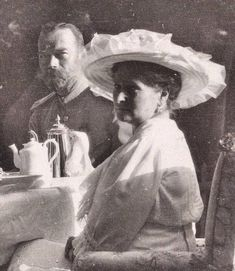 """Nicholas II and Empress Alexandra at tea ~ From the blog """" ROMANOVS MEALS"""" click for the article ~"""