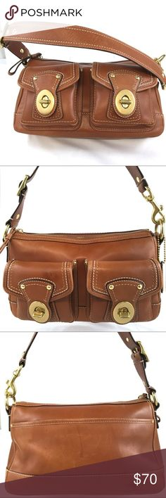 eff2c80f8e COACH Signature Collection Tan leather Shoulder This brown leather turn  lock shoulder bag has been pre-loved. It s in fair condition.