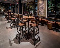 Starbucks Reserve Coffees Showcased in New Atlanta Store Coffee Bar Design, Coffee Shop Interior Design, Pub Interior, Pub Design, Restaurant Design, Starbucks Shop, Starbucks Reserve, Cafe Concept, Cafe Furniture