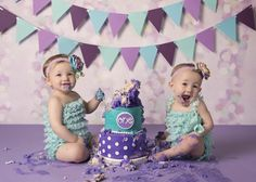 Twin One Year-Old Girl Cake Smash Photography