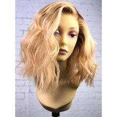 Shaunie-Sexy Wavy Blonde BOB Full Lace Wigs Touchedbytim014 ($320) ❤ liked on Polyvore featuring beauty products, haircare and hair styling tools