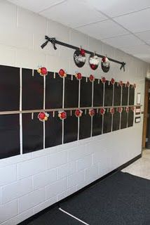 hallway display of student work---clothespins