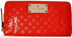 $100.00 Kate Spade Cherry Red Emerald Avenue Neda Zip Around Wallet ClutNWT + FREE GIFT