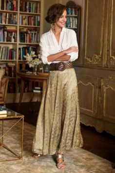 """This is the sort of outfit I like - suits my """"style!"""" Silk Sienna Skirt - Matte Gold Satin Skirt, Satin Skirt 