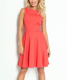Love this Coral Sleeveless Fit & Flare Dress on #zulily! #zulilyfinds