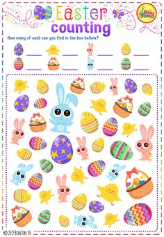 Easter themed Preschool Printables - Free worksheets, I spy game, number puzzles - tracing letters, counting numbers and other activities - fun learning by BonTon TV Easter Worksheets, Easter Printables, Easter Activities, Free Worksheets, Preschool Printables, April Preschool, Preschool Learning, Free Preschool, Fun Learning