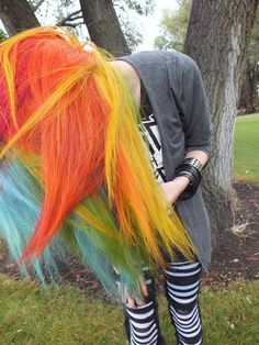 blue, green, yellow, orange, and red hair