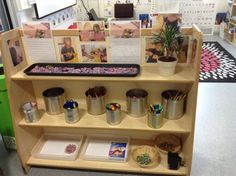 Writing area shelf. We have decided to embrace the loom band craze and provide a tray of loom bands for children to come and make them (which in itself is an excellent fine motor activity and is really encouraging the children to help and teach each other), and then write instructions of how to make them, to teach other children who don't know. The children are all loving this and are producing some great writing from it!