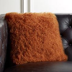 "16"" Mongolian Sheepskin Copper Fur Pillow with Down-Alternative Insert"