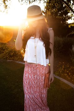 Fedora, tribal maxi skirt, white crop top, oia Jules, Bellami hair extensions