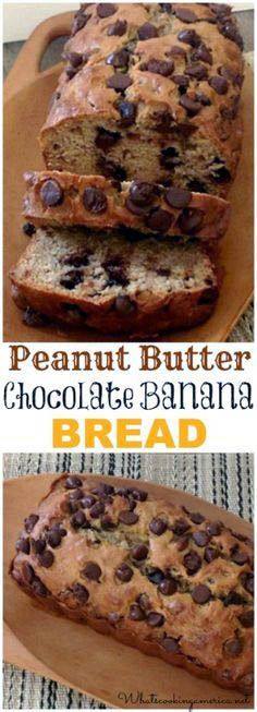 Try this Peanut Butter Chocolate Banana Bread recipe! We took our favorite banana bread recipe and replaced butter with peanut butter and added chocolate Just Desserts, Delicious Desserts, Dessert Recipes, Yummy Food, Delicious Chocolate, Cake Recipes, Bon Dessert, Dessert Bread, Chocolate Banana Bread
