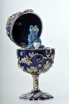 Faberge Egg with a blue frog Trinket Box by Keren Kopal Swarovski Crystal