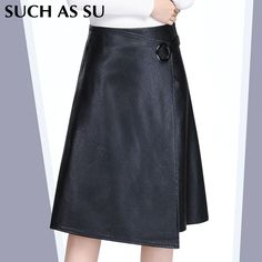 Stitching Asymmetrical Leather Skirt Women's Black High Waist Ring Buckle 2016 Autumn Winter Knee-Length Plus Size Ladies Skirts #Affiliate