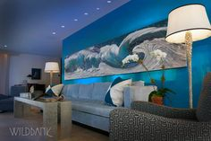 """'Panoramic Wave' acrylic on canvas 36"""" X  180"""" by Wildbank. Collection of Katz Family"""