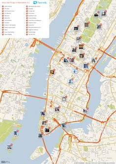Map of New York, Manhattan tourist sights and attractions from Tripomatic.