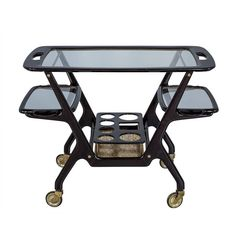 Italian Bar Cart Designed by Cesare Lacca   From a unique collection of antique and modern bar carts at https://www.1stdibs.com/furniture/tables/bar-carts/