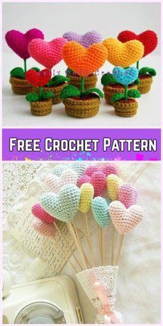 Crochet 3D Flower In Pot Free Crochet Pattern - Crochet Heart Bougquet Amigurumi Free Pattern