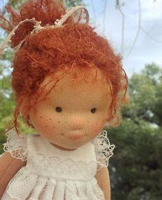 """Доброго дня ! Итак , подробное описание ) Марта - это куколка 20см роста, сделана вручную, голова - сухое валяние , плотное и крепкое (черты лица со временем не """"расплывутся """" , наполнение - био-шерсть Голландия , сверху - хлопковый трикотаж , Нидерланды , волосы - шерстяная пряжа букле мохер , ЮАР, одежда - хлопок , батист . Волосы не длинные , но вшиты равномерно по всей голове , возможно делать разные прически . Кукла продается )"""