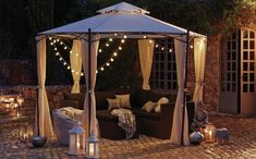 Balinese 5 Seater Conversation Set with Arabian Hexagonal Gazebo Outdoor Gazebos, Backyard Gazebo, Outdoor Rooms, Backyard Landscaping, Outdoor Gardens, Outdoor Living, Outdoor Decor, Garden Gazebo, Gazebo Lighting