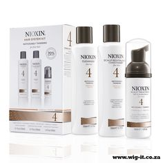 Nioxin System 4 Kit Revitalise and volumise limp, thinning hair with NIOXIN's three part regime. Dedicated to delivering fuller looking hair while refreshing the scalp and providing moisture balance, the NIOXIN Hair System Kit 4 for Fine, Noticeably Thinning, Chemically Treated Hair is a unique system of complementary products that work in unison to achieve resilient, denser looking hair and a refreshed scalp. http://www.wig-it.co.za/nioxin/nioxin-system-4-kit-detail