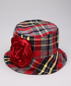 Navy & Red Rose Plaid Audrey Bucket Hat by Wiggy Studio on #zulily,  ADORABLE!! Joss would look so cute.