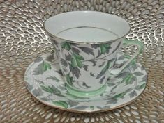 Royal Grafton Great leaf and Green Chintz Design Tea Cup and Saucer Pattern 587 | Antiques, Decorative Arts, Ceramics & Porcelain | eBay!