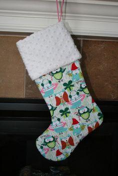 Hoot Owls Christmas Stocking by bebesniklefritz on Etsy, $26.00