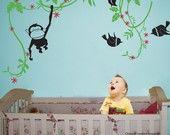 Monkey and birds in rainforest children wall decal