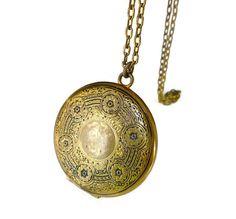 Victorian Revival Locket, Taille D Epergne, Gold Filled, Black Enamel, Vintage Necklace, Vintage Locket by zephyrvintage on Etsy