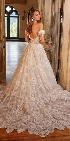Off The Shoulder Wedding Dresses To See ★ off the shoulder wedding dresses a line low back full lace eveofmiladybridals