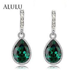 [!!] ซอทไหน Fashion Green Main Color Drop Earrings female...