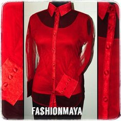 #madetomeasure #netshirt #with #collar #woman #in #red #at #fashionmaya #newdelhi