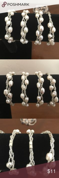 White pearl bracelets White pearl bracelet with magnetic clasp $14 each plz make an offer Jewelry Bracelets