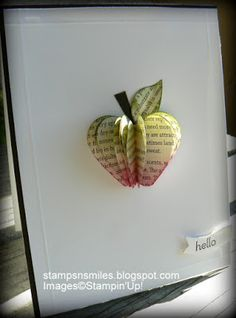 Stampsnsmiles: An Apple a Day! Heart punch or die Teacher Cards, Teacher Gifts, Cute Cards, Diy Cards, Book Crafts, Paper Crafts, Presents For Teachers, Scrapbooking, Origami