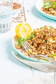 Cauliflower Salad recipe with Chickpeas Cumin Baby Kale and Toasted Buckwheat - vegan and gluten free | DeliciousEveryday.com