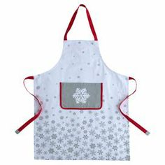 "White cotton apron with a snowflake motif.  Product:  Apron Construction Material: Cotton  Color: White  Features:  Snowflake motif Dimensions: 36"" x 27"""