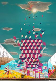 Geometric Mural Turns Highway Underpass Into A Portal To A Futuristic City [Pics] - PSFK