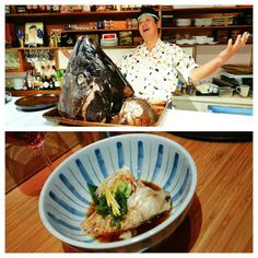 """I'm about to marry Sada-san. Totally kidding, but I'm all over this Japanese blue fin tuna head. #GimmeMore    The precious cheek... mmmmmmmm... perhaps the most valued bite, but in this case it was """"beginner's bite"""" when exploring parts of the fish head... #omakase at Octopus Garden #kitsilano #Vancouver #happygirl #happydance #NoWaste"""