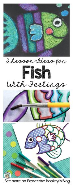 See art project ideas using markers & water, texture rubbings, and oil pastel techniques to create these beautiful fish with feelings. #artforkids #fishlesson #arteducation