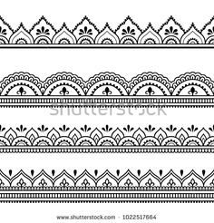 Set of seamless borders for design, application of henna, Mehndi and tattoo. Decorative pattern in ethnic oriental style. Set of seamless borders for design, application of henna, Mehndi and tattoo. Decorative pattern in ethnic oriental style. Henna Tattoo Muster, Henna Tattoo Hand, Muster Tattoos, Henna Hand Designs, Mehandi Designs, Tattoo Designs, Tattoo Ideas, Doodle Patterns, Henna Patterns