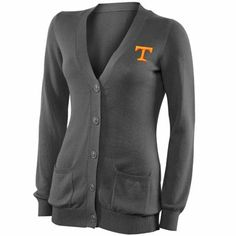 Tennessee Volunteers Ladies Boyfriend Full Button Cardigan - Charcoal