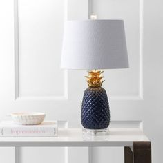 Pineapple 23 Ceramic LED Table Lamp, Navy/Gold by Jonathan Y (Dark Blue/Gold) (Acrylic) Table Lamp Base, White Table Lamp, Table Lamp Sets, Lamp Bases, Pineapple Lamp, Gold Pineapple, Pineapple Lights, Large Lamps, Lamp Shade Store
