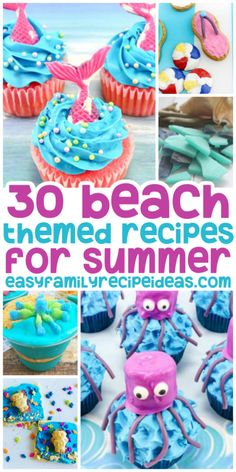 Make these Beach Themed Recipes with the kids to kick off summer or use them during an ocean theme week. So many ideas for cute beach cupcakes, Jello cups, cookies, and more. There's never a wrong time to enjoy a yummy Summer treat. Beach Theme Desserts, Beach Theme Food, Beach Dessert, Beach Theme Cupcakes, Beach Themed Cakes, Summer Themed Cupcakes, Luau Theme, Crab Cupcakes, Kid Cupcakes